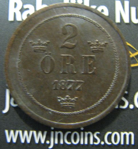 Sweden 2 öre 1877 I KM-735 ( XF ) Short text