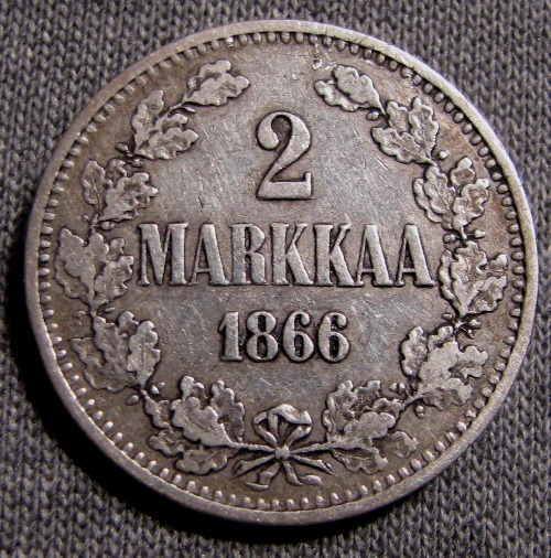2 Markkaa 1866 II ( VF ) Normal 6