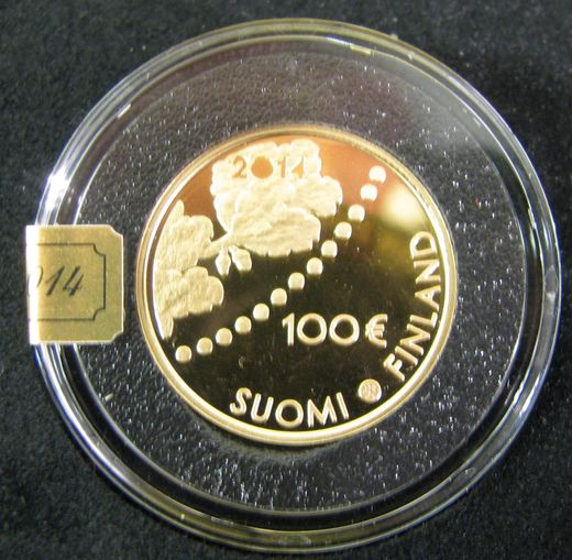 Finland 100 Euro 2014 KM-117 ( PROOF ) The first mark and numismatics  Original box and certificat