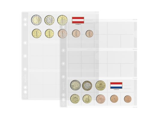 NUMIS coin sheets for 3 Complete Euro-coin sets ( 5pcs/pack)