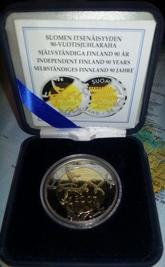 5 euro 2007  Anniversary of independence 90 years ( PROOF )  Original box and certificat