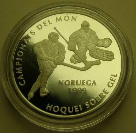 Andorra 10 diner 1999 ( PROOF ) Ice Hockey World Champion Norway 1999